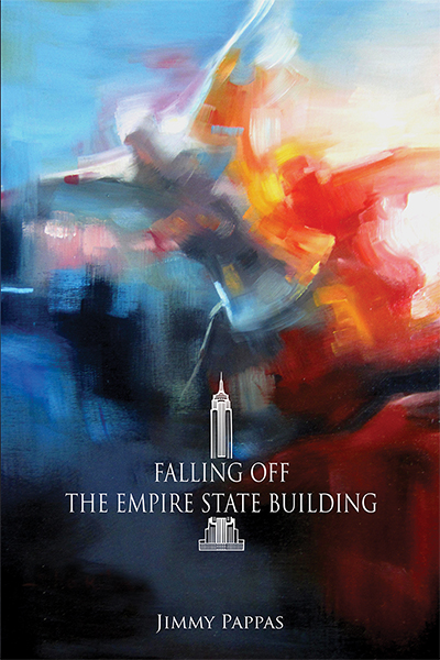 Cover of Falling off the Empire State Building, abstract blue and white painting of a white figure falling from a height