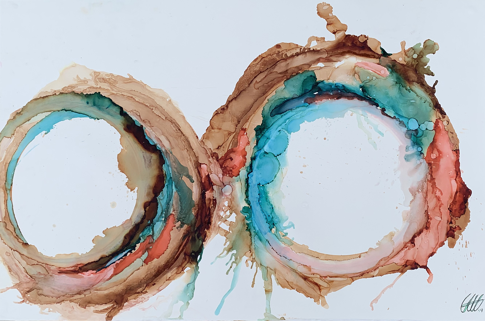 Alcohol ink drawing of two circles overlapping in greens and browns