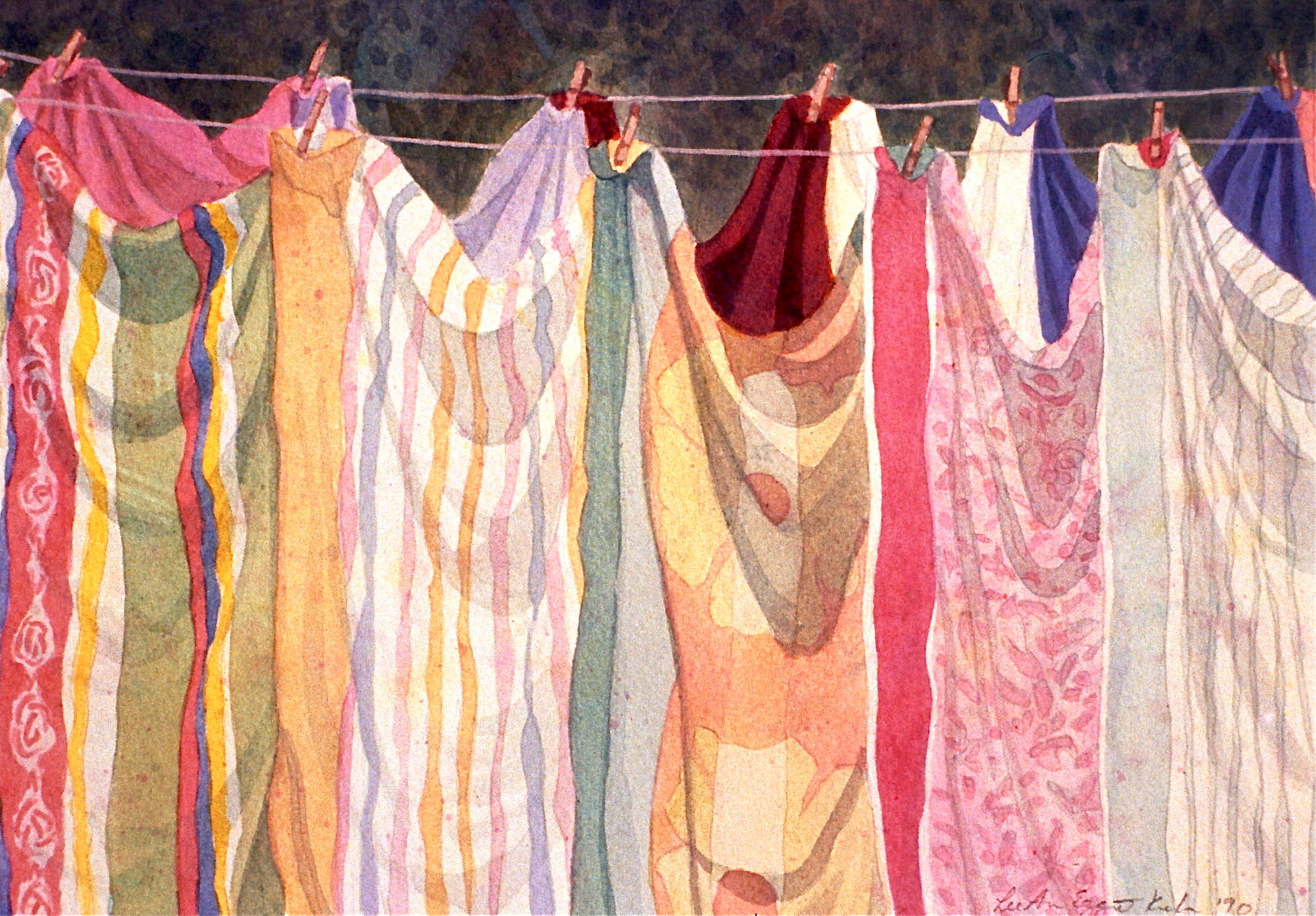 Sunline by Annie Kuhn, painting of towels hung across a clothesline