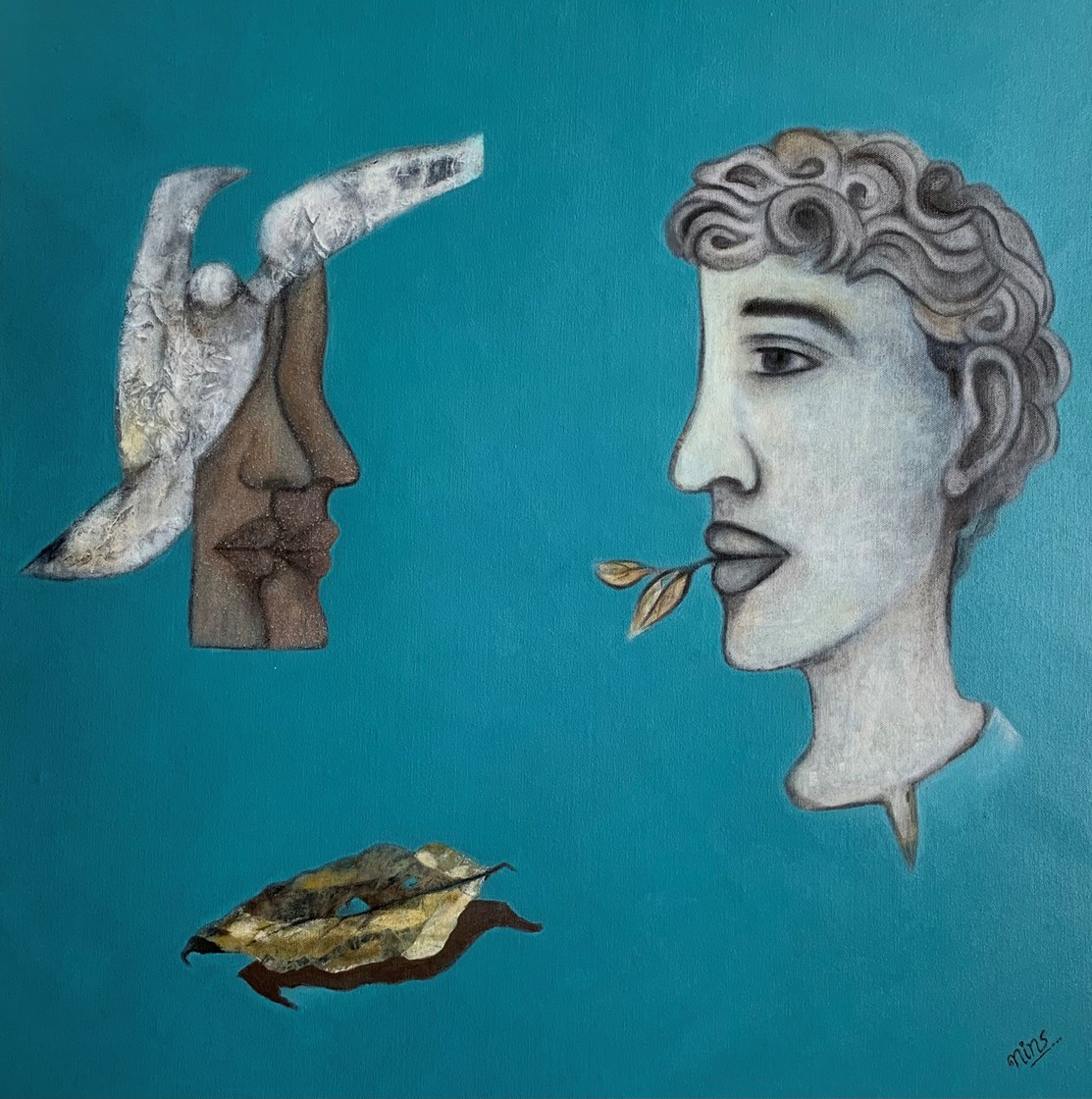 Contradictions of Being by Neena Sethia, image of a head, a leaf, and other shapes on a blue background