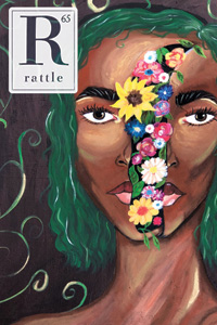 Rattle #65 cover, woman with flowers on face