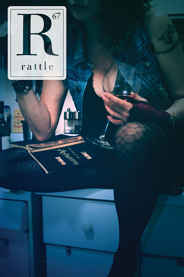 Rattle #67 cover, dark photo of woman sitting on kitchen counter with wine glass
