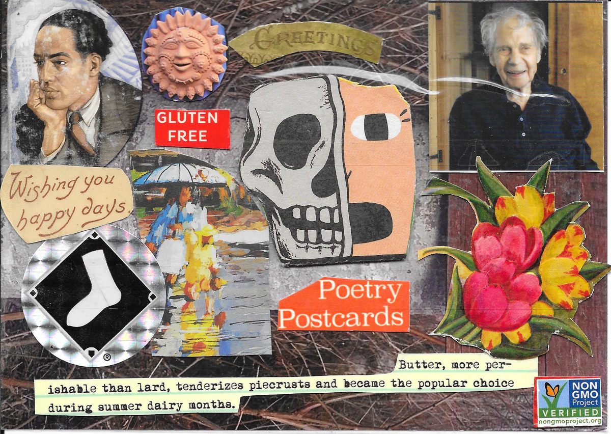 postcard with portraits, flouds, socks and non-GMOs