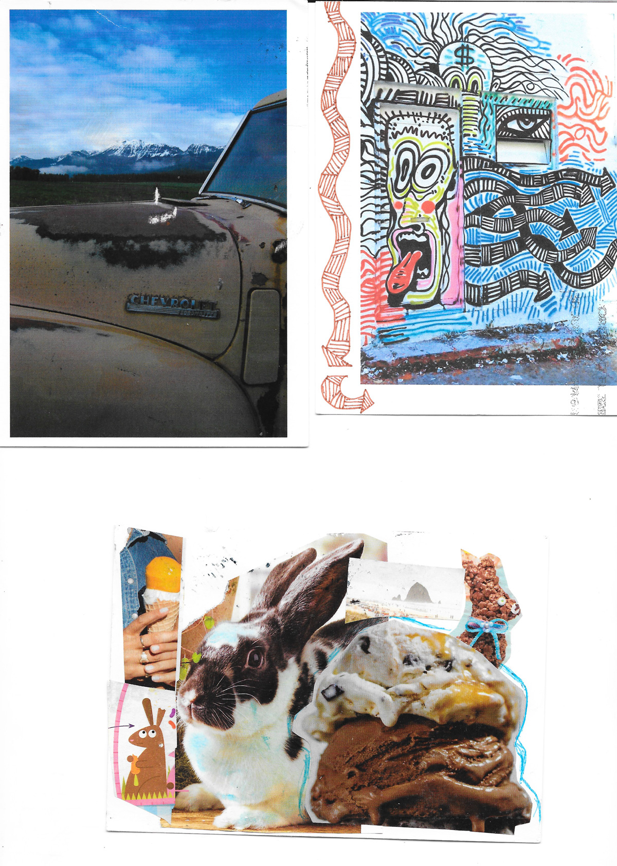 postcards with an old truck, graffiti art, and rabbits near ice cream